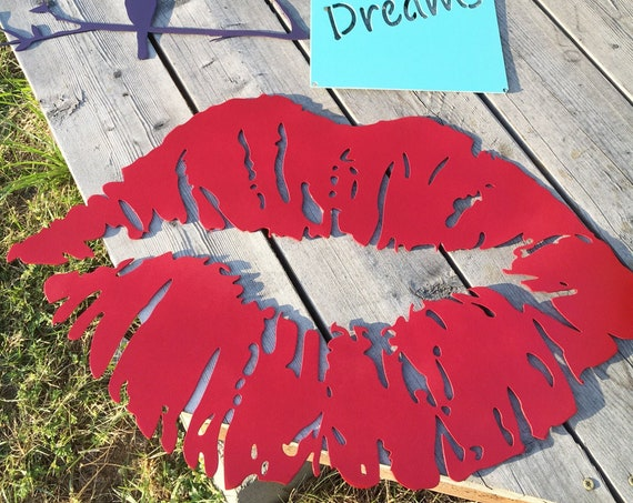 Metal Kiss Lips Red Metal Wall Art Boutique Decor Air Kiss Lips Farmhouse Decor