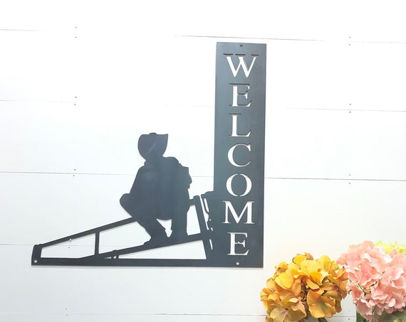 Rustic Cowboy Metal Welcome Home Decor Sign