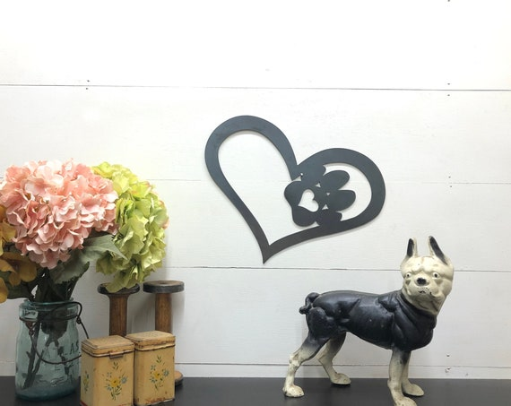 Metal Cat or Dog Paw Heart Home Decor, Animal Lovers Gift, Puppy Love, Kitty Cat Love