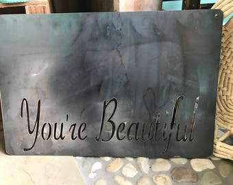 You're Beautiful Magnetic, Metal Picture Board, Gifts For Her, Country Home Decor, Rustic Metal Word Art, Magnet Board, Fixer Upper Decor