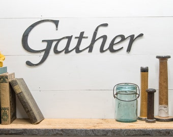 Rustic Gather Metal Sign, Gather Home Decor, Country Style, Farmhouse Decor, Industrial Design, Dining Living Room Decoration, Thanksgiving