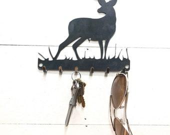 Deer Key Rack Metal Decor - Key Chain and Sun Glasses Holder - Leash and Key Rack