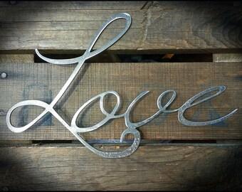 Rustic Love Metal Sign, Love Decor, Anniversary Gift Ideas, Metal Word Art, Small Gift Ideas, Cursive Writing, Raw Steel Decor, Industrial