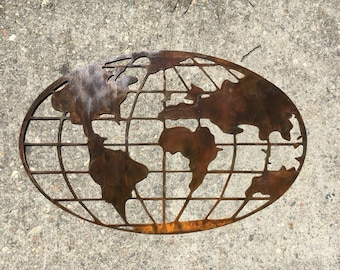 Metal World Map Of The Earth~ Man Gifts
