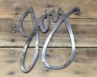 Rustic Metal Joy Sign, Metal Word Art, Farm House Decor, Country Living, Fixer Upper Style Ideas, Metal Sign Gifts, house warming gift ideas