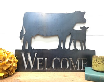 Cow and Calf Welcome Sign - Metal Welcome Sign - Farmhouse Welcome Sign - Cow Decor - Ranch Welcome Sign