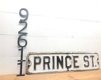 Custom Metal Mailbox & Address Numbers~Vertical Address Sign