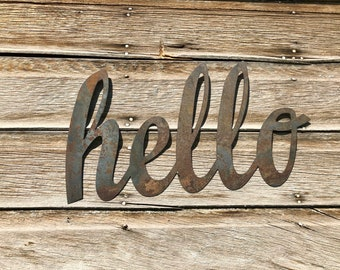 Hello Front Porch Decor~ Metal Door Decor