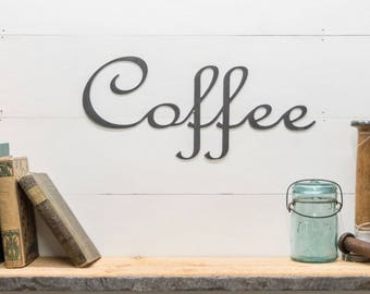 Rustic Coffee Metal Sign Decor