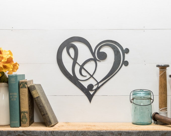 Featured listing image: Metal Music Heart Treble Clef and Base Clef Home Decor Wall Hanging