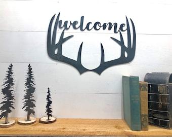 Deer Antler Welcome Sign