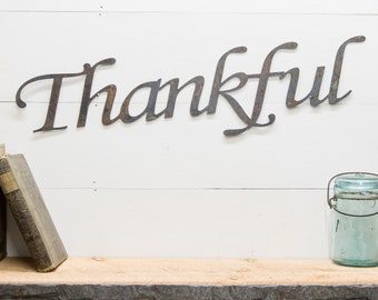 Thankful Rustic Metal Decor