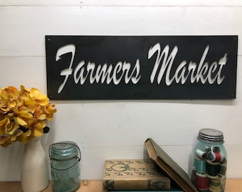 Farmers Markets Pantry Sign, Large Metal Kitchen Decor