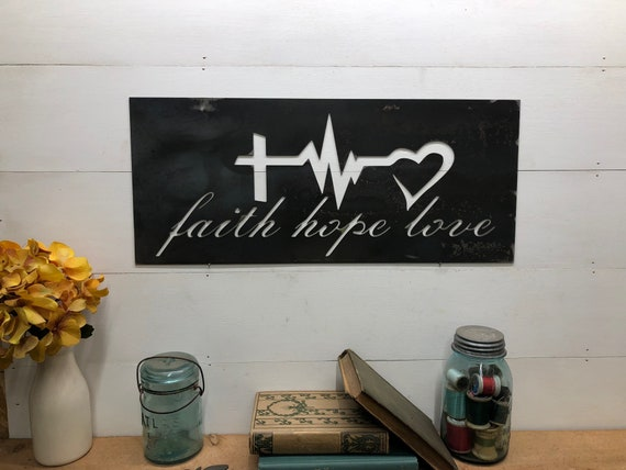 Metal Faith Hope Love Sign - Cross Heartbeat Heart Decor - Western Decor - Metal Wall Decor