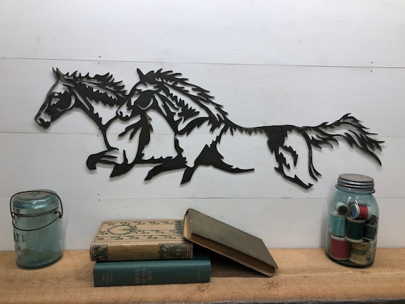 Rustic Running Horses Metal Wall Hanging Home Decor