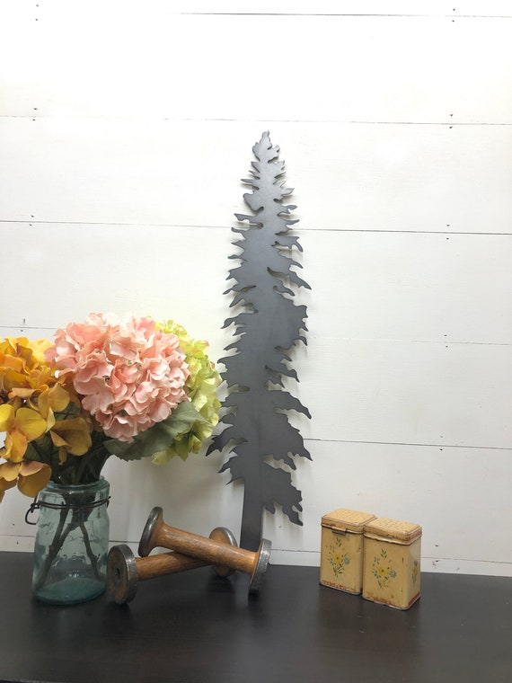 Cabin Decor Tree Designs Tree Outline Pine Tree Silhouette Home Decor Mountain Home Decor Small Metal Gift Ideas, Joanna Gaines, Rustic