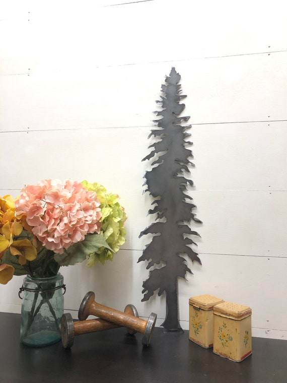 Pine Tree Silhouette Mountain Home Decor Cabin Decor Home Decor Tree Designs Tree Outline, Small Metal Gift Ideas, Joanna Gaines, Rustic