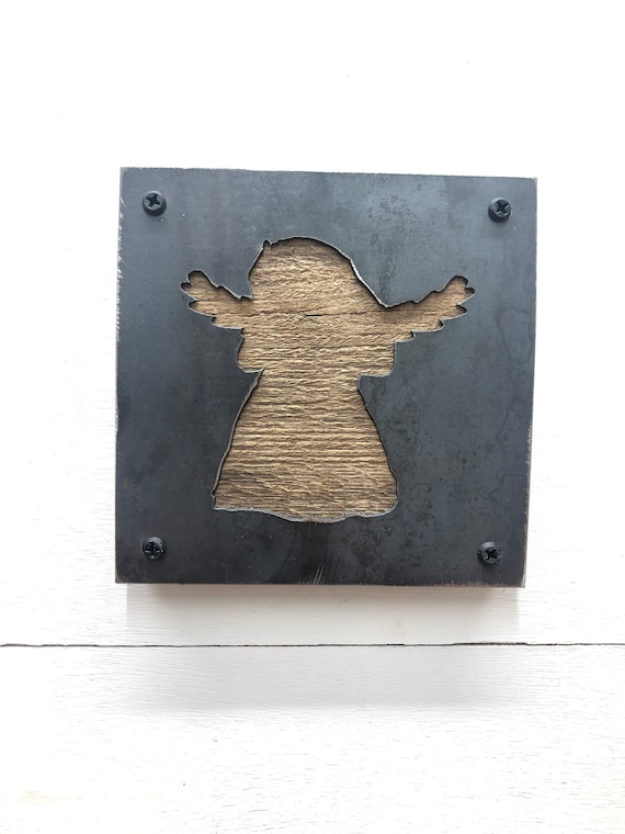 Cute Little Angle Wood and Metal Wall Hanging, Angel Decor