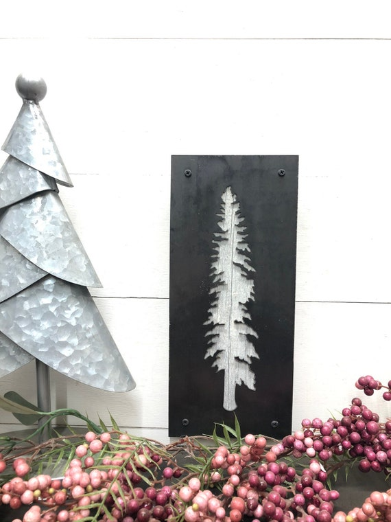 Rustic, Modern, Industrial Tamarack Tree, Metal Wall Decor, Barnwood Decor