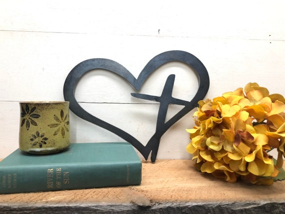 Small Religious Gift Rustic Metal Heart With Cross Powder Coated Sign Christian Gift Ideas