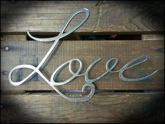 Rustic Love Metal Sign, Love Decor, Anniversary Gift Ideas, Metal Word Art, Small Gift Ideas, Cursive Writing, Raw Steel Decor, Industrial