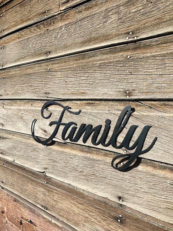 Rustic Family Metal Decor Sign, Joanna Gaines Farmhouse Style Decor, Fixer Upper Decor, Country Home Design Metal word art, Steel Home Decor