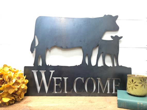 Cow and Calf Welcome Sign