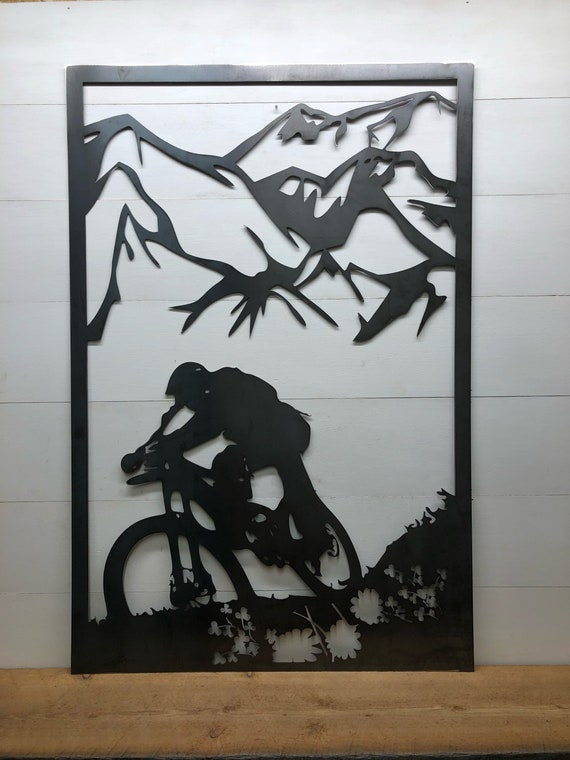 Mountain Biking~Metal~Man Cave Decor~Fathers Day Idea