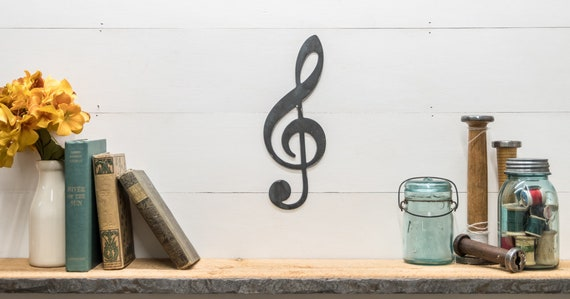 Metal Treble Clef Wall Art, Music Lover Gift Ideas, Music Notes, Music Room Decor Musician Decor, Music Enthusiast Home Decor, Joanna Gaines