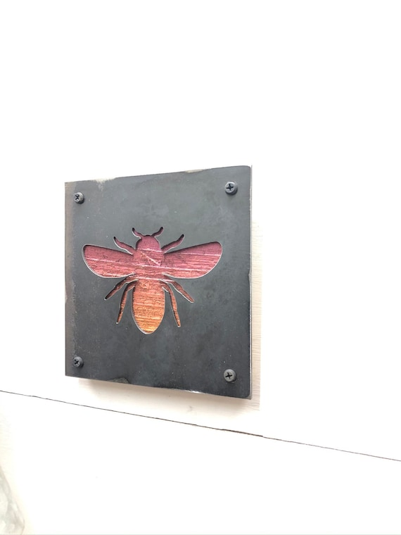 Rustic Barnwood, Metal Bee Decor, Mixed Media Art, Honey Bee Decor