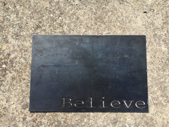 Believe Magnet Board Metal Wall Decor, Country Home and Farmhouse Style Decor, Industrial Design, Fixer Upper Metal Sign Style, Kids Believe