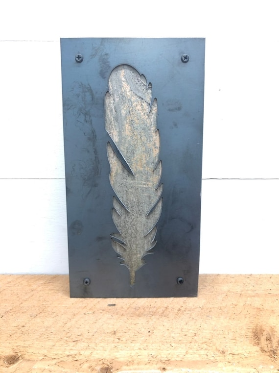 Metal and Wood Feather Decor-Home Decor-Recycled Material