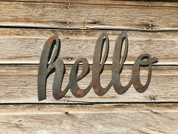 Hello Front Porch Decor~ Metal Door Decor