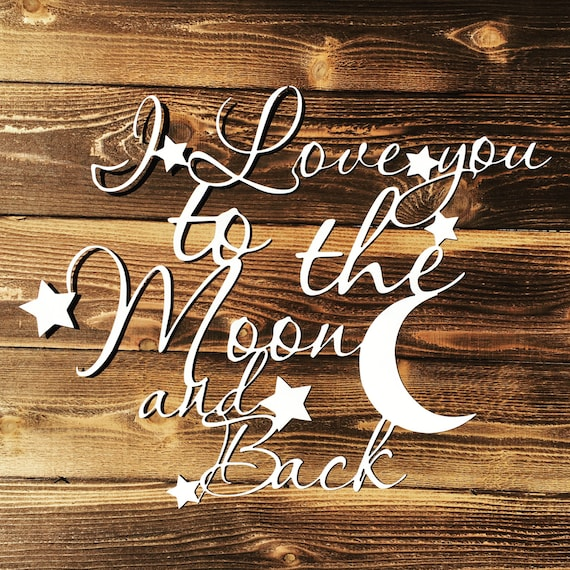 I Love You To The Moon And Back Metal Sign Home Decor, Farmhouse White, Rustic Home Decor, Kids Nursery Room Decor, Family Room Art, Love