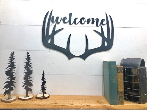 Deer Antler Welcome Sign