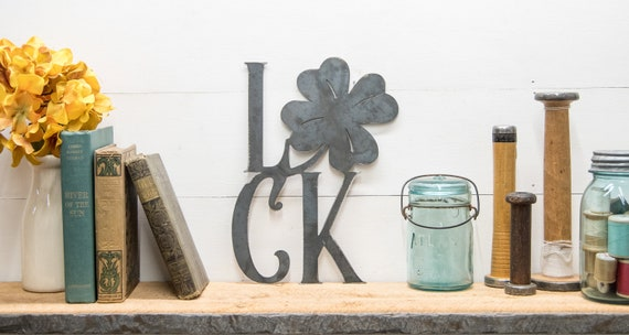 Four Leaf Clover Luck Metal Sign