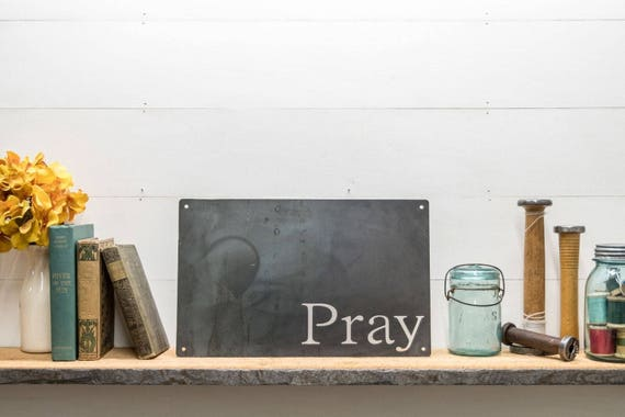 Metal Pray Board, Magnetic Metal Board Decor, Faith, Wedding Gift Ideas, Religious Decor, Church Gift Ideas, Fixer Upper Style Wall Hanging
