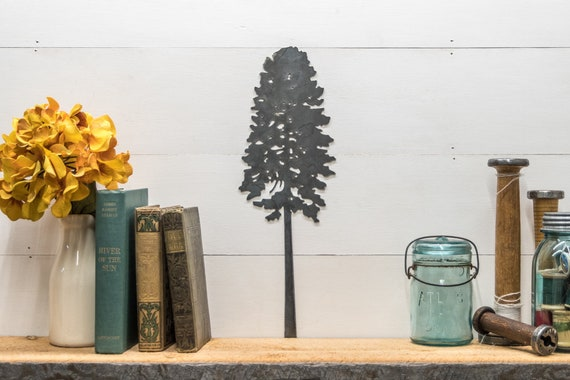 Metal Ponderosa Pine Tree Silhouette Home Decor, Tree Drawing Decor, Rustic Home Decor, Cabin Wall Hangings, Joanna Gaines Decor Ideas, Tree