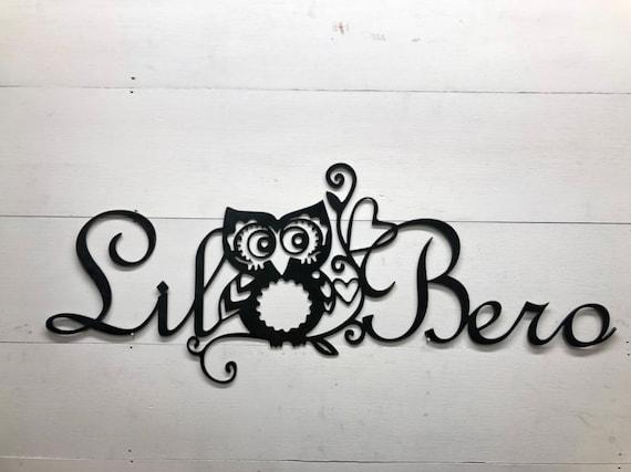 Owl Nursery Personalized Metal Name Decor, Personalized Gift Ideas, Kids Room Decor, Farmhouse style decor, metal name sign ideas, Owl Art