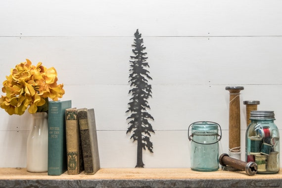 Pine Tree Silhouette Home Decor, Mountain Home Decor, Cabin Decor, Tree Designs, Tree Outline, Small Metal Gift Ideas, Joanna Gaines, Rustic