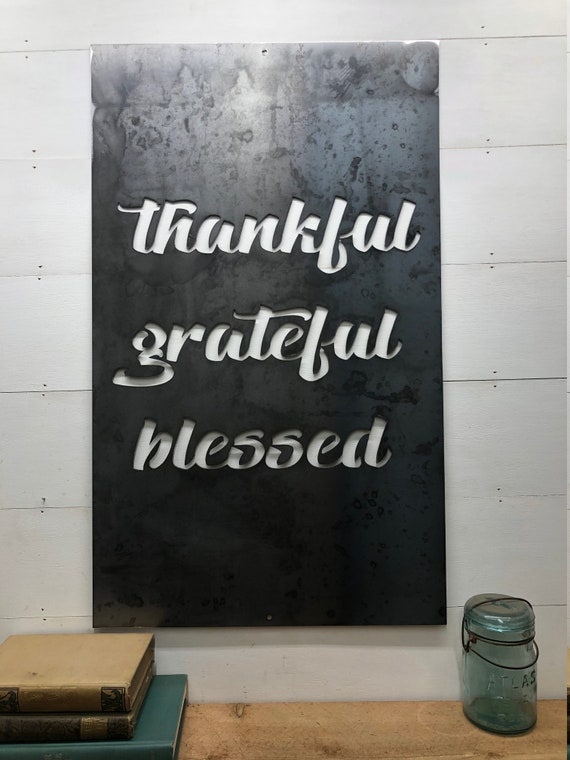Thankful Grateful Blessed Metal Home Decor Wall Hanging