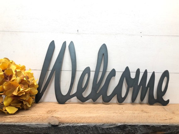 Metal Welcome Sign Swedish Farmhouse Realtor Gift Escape Room Prop Front Porch Decor