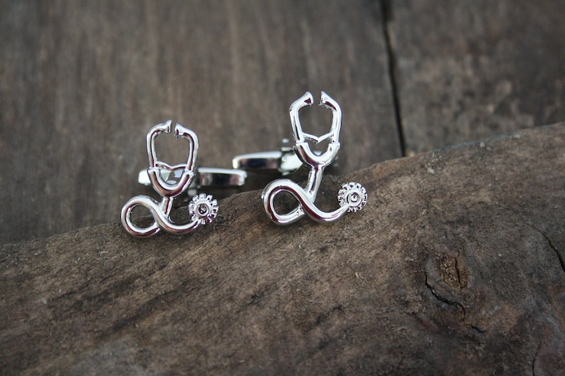 stethoscope cufflinks silver color metal doctor nurse physician essential worker