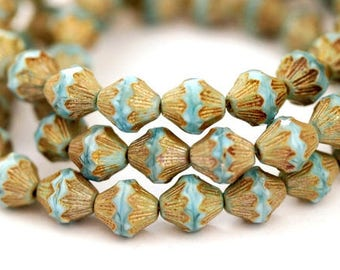 4 Czech glass beads Baroque Bicone 13 mm