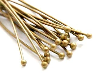 50 x riveting pins with ball 60 mm x 0.7 mm, bronze colours