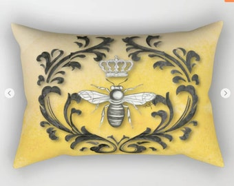 Damask Bee Pillow, Queen Bee Original hand bee on a rectangle throw pillow, 4 sizes