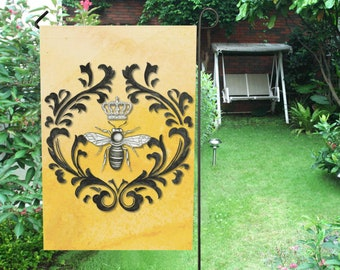 Decorative Queen Bee Garden Flag or House Flag, Original hand painted damask French bee art, 2 sizes and 4 colors available