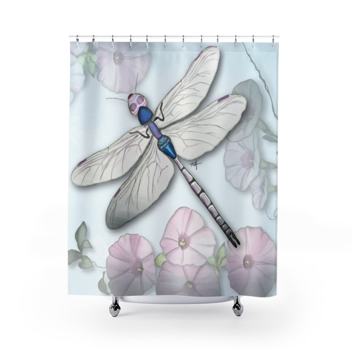 Dragonfly Shower Curtain Morning Glories Original Art Hand Painted Design