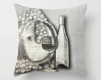 Wine Throw Pillow, wine enthusiast, decorative pillow, home decor, wine decor