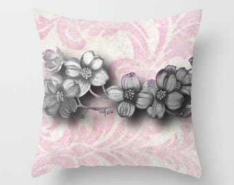 Pink Damask Dogwood Throw Pillow, 3 sizes available
